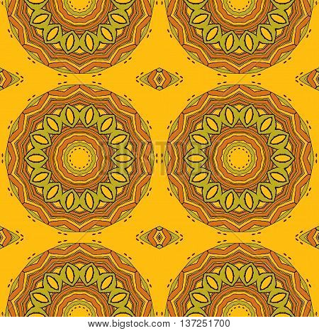 Abstract geometric seamless background. Regular ornate circles and diamond pattern ocher brown and olive green on orange.