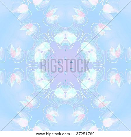 Abstract geometric seamless background. Delicate round ornament with elements in white, turquoise, pink and purple on light blue, shiny and dreamy.