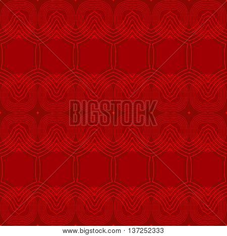 Abstract geometric plain background. Seamless ellipses and hexagon pattern in red shades with outlines.
