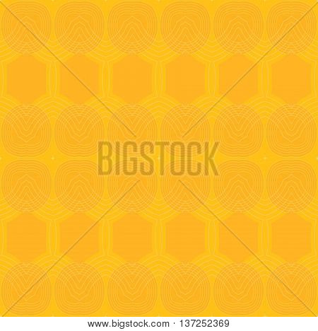 Abstract geometric plain background.  Seamless ellipses and hexagon pattern in bright yellow and orange with outlines.