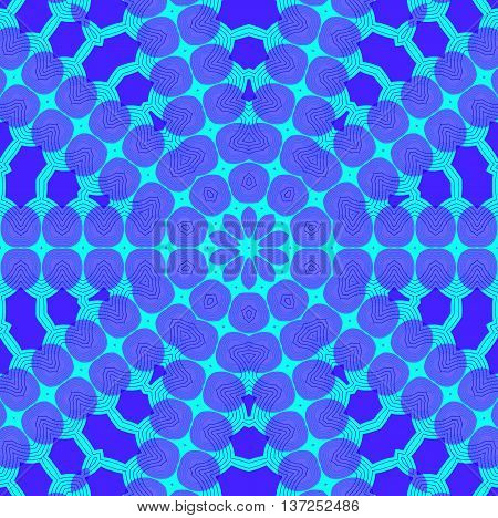 Abstract geometric seamless background. Concentric ornament, star pattern in purple shades and turquoise.