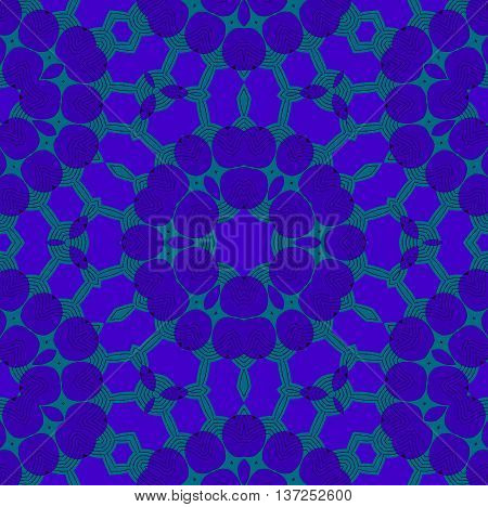 Abstract geometric seamless background. Ornate star ornament in purple shades on pale green with black outlines, extensive and dreamy.
