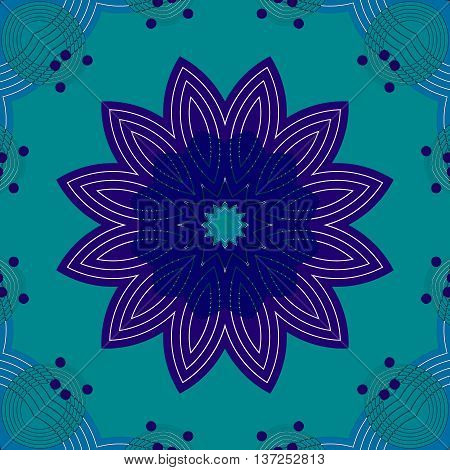 Abstract geometric seamless floral background. Regular symmetric blossom dark blue and purple on turquoise green with blue ornaments and purple dots, conspicuous and dreamy.