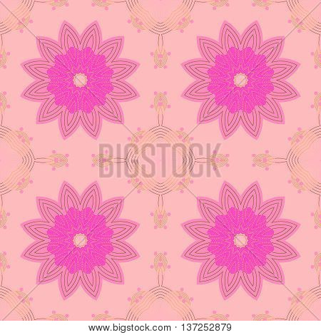 Abstract geometric seamless background. Regular symmetric floral pattern, pink and violet blossoms on pastel pink with pink and yellow ornaments, conspicuous and dreamy.