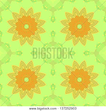 Abstract geometric seamless retro background. Regular symmetric floral pattern, yellow orange blossoms on light green with pale green and yellow elements, delicate and dreamy.
