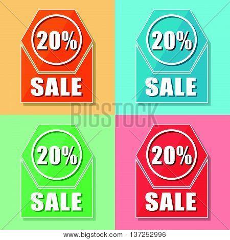20 percentages sale, four colors web icons, flat design, business shopping concept, vector