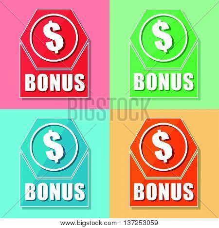 bonus and dollar sign, four colors web icons, flat design, business finance concept, vector