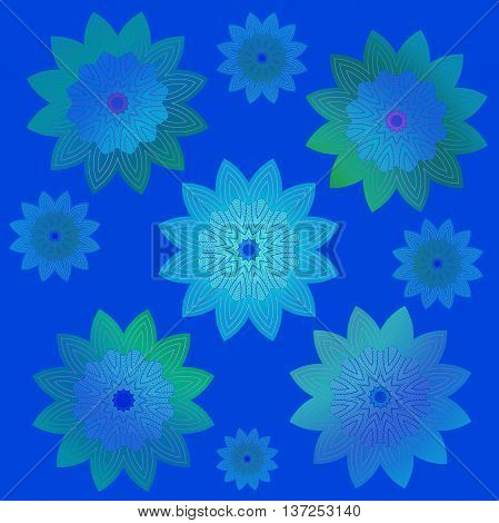Abstract geometric floral retro background. Scattered blossoms in blue, purple, turquoise and green shades on dark blue.