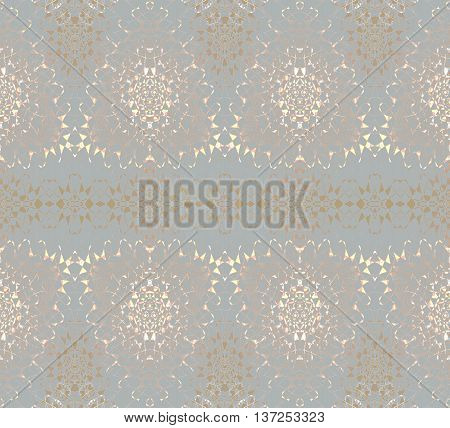 Abstract geometric seamless background in quiet colors. Delicate regular triangle pattern in pale yellow and brown shades on gray.