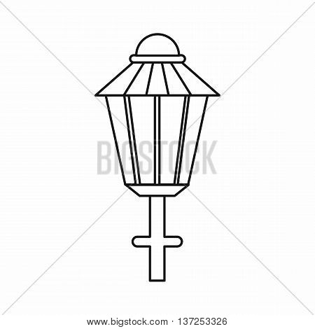 Street lamp icon in outline style isolated vector illustration. Light symbol