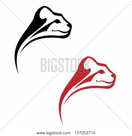 silhouette black and red image of a jaguar head stylized head of a wild cat on a white background for the logo