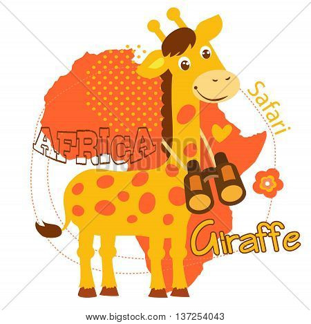 Little Giraffe Vector Illustration. Africa Theme Cartoon. Cute Picture For Kids. T-Shirt Design Illustration. Little Giraffe Pillow.