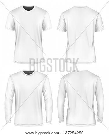 Men's white  t-shirt. Vector illustration. Fully editable handmade mesh.