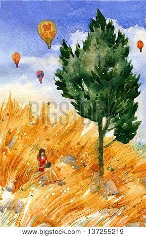 Beautiful yellow grass fields cypress and girl working outdoor with air balloons in the distance. Watercolor travel and vacation illustration. Original landscape painting.