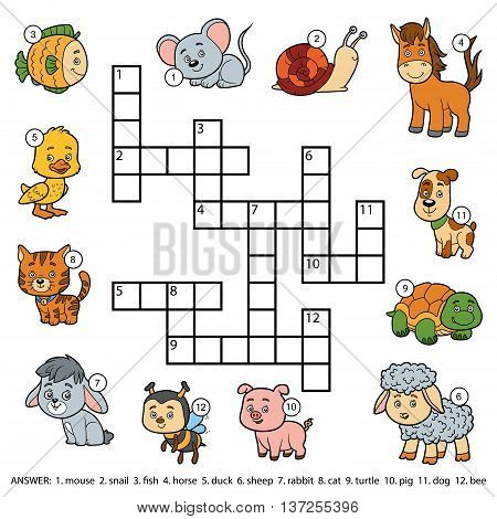 Vector Color Crossword About Domestic Animals