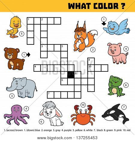 Vector Color Crossword About Colors. What Color Are Animals?