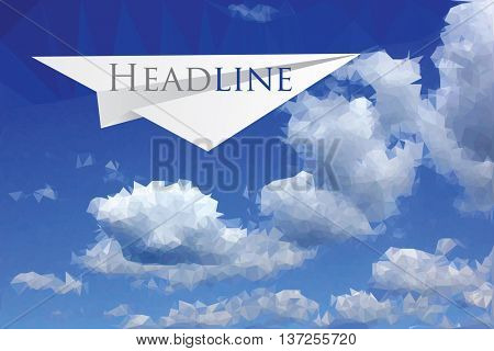 vector illustration of the paper plane on the cloudy sky, low poly,