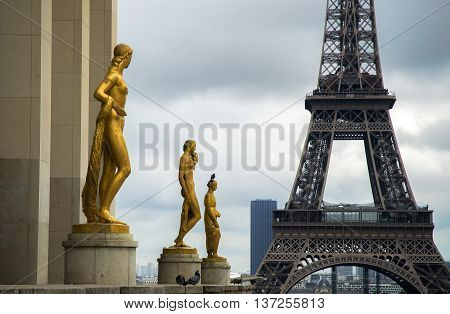Statues du Palais de Chaillot with views of Eiffel Tower