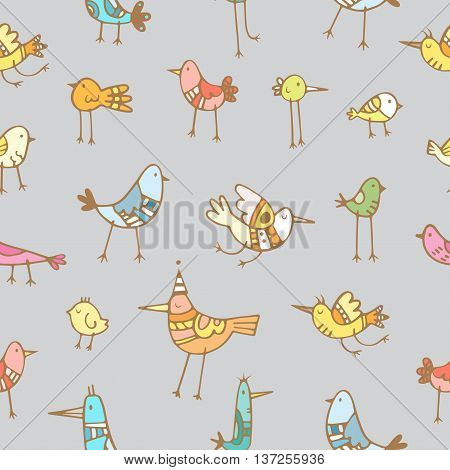 Seamless pattern with cute cartoon colorful birds on gray  background. Vector contour image. Doodle style.
