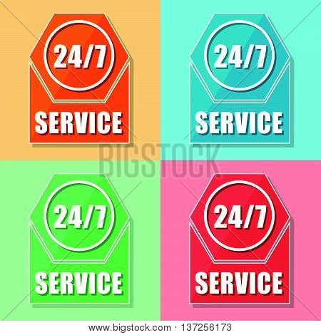 24/7 service, four colors web icons, flat design, business support concept, vector