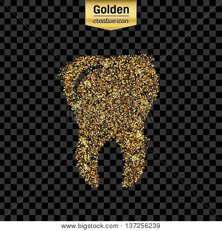 Gold glitter vector icon of tooth isolated on background. Art creative concept illustration for web, glow light confetti, bright sequins, sparkle tinsel, abstract bling, shimmer dust, foil.