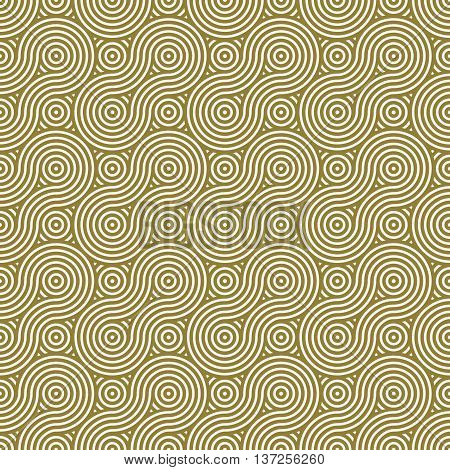 Vector geometric seamless pattern abstract endless composition created with overlay curls and circles. Yellow background with intertwine curves.
