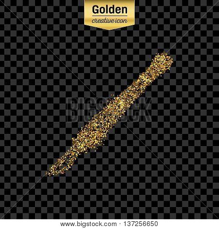 Gold glitter vector icon of scalpel isolated on background. Art creative concept illustration for web, glow light confetti, bright sequins, sparkle tinsel, abstract bling, shimmer dust, foil.