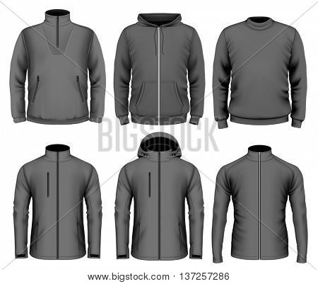 Collection of men's clothes. Fully editable handmade mesh. Vector illustration.