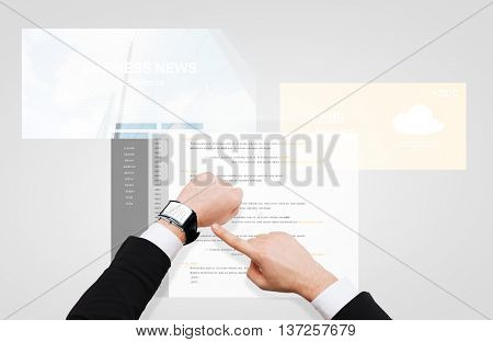 business, people, programming and modern technology concept - close up of businessman hand pointing to smart watch screen with coding