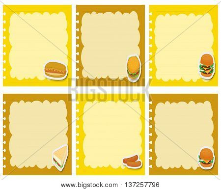 Label design with fastfood illustration