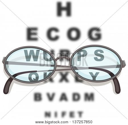 Pair of eyeglasses and reading chart illustration