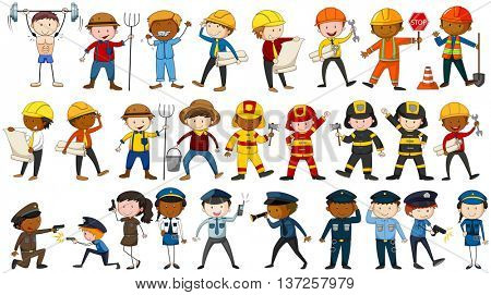 Set of people in different occupations illustration