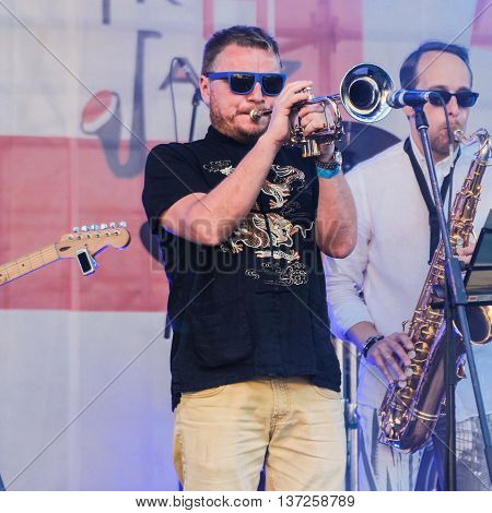 St. Petersburg, Russia - 2 July, Musician solo trumpet, 2 July, 2016. Annual international festival of jazz and blues in St. Petersburg.