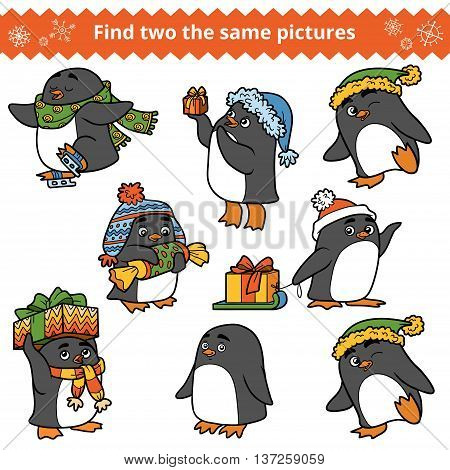 Find Two The Same Pictures, Set Of Penguins