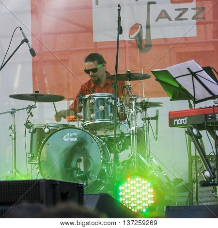 St. Petersburg, Russia - 2 July, Drummer,  2 July, 2016. Annual international festival of jazz and blues in St. Petersburg.