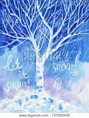 original watercolor painting of winter cold birch tree and snow