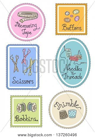 Group Illustration of Labels Featuring Different Sewing Materials