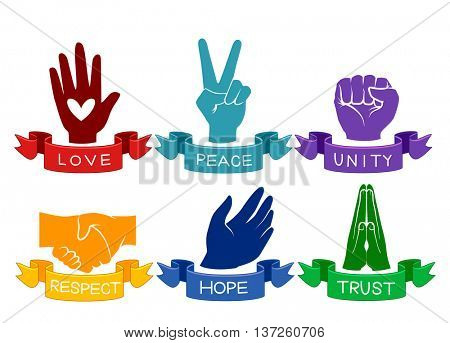 Illustration of Colorful Hands Representing Different Values