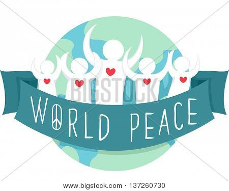 Illustration of a Group of People Tied by a Ribbon with World Peace Written on It