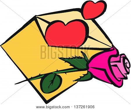 Vector of envelop with hearts and rose. Happy valentines day. The letter of true love with red hearts. Happy valentines day. The letter of true love with red hearts, flower, rose, writing declaration of love, love confession, romantic message, touching le