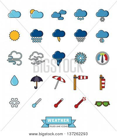 Weather and climate filled line vector icons set. Collection of 25 meteorology related symbols.