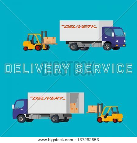 Flat concept illustration of delivery truck with forklift loading pallet with box into the car. Concept logistics illustration of professional warehouse packaging processes