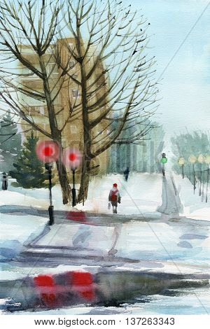 Winter town view roads covered with snow pedestrian on the crossroad. Hand drawn greening card.