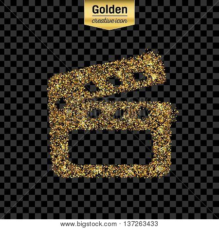 Gold glitter vector icon of clapboard isolated on background. Art creative concept illustration for web, glow light confetti, bright sequins, sparkle tinsel, abstract bling, shimmer dust, foil.