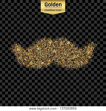 Gold glitter vector icon of mustache isolated on background. Art creative concept illustration for web, glow light confetti, bright sequins, sparkle tinsel, abstract bling, shimmer dust, foil.