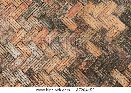 red brick herringbone background texture, floor, footpath