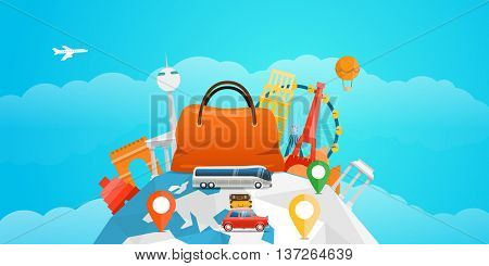 Vacation travelling concept. Vector travel illustration with the car