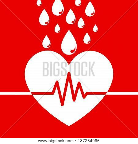 Blood donation concept design with heart shape and blood drops