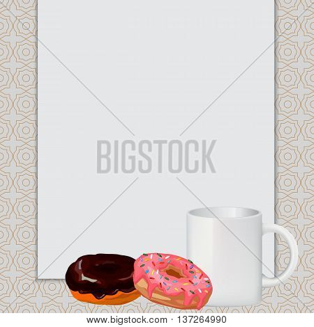 cup donuts white sheet, White clean sheet in the background, with cakes, white cup