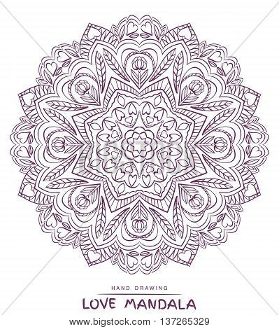 Vector mandala for coloring with valentines decorative elements.